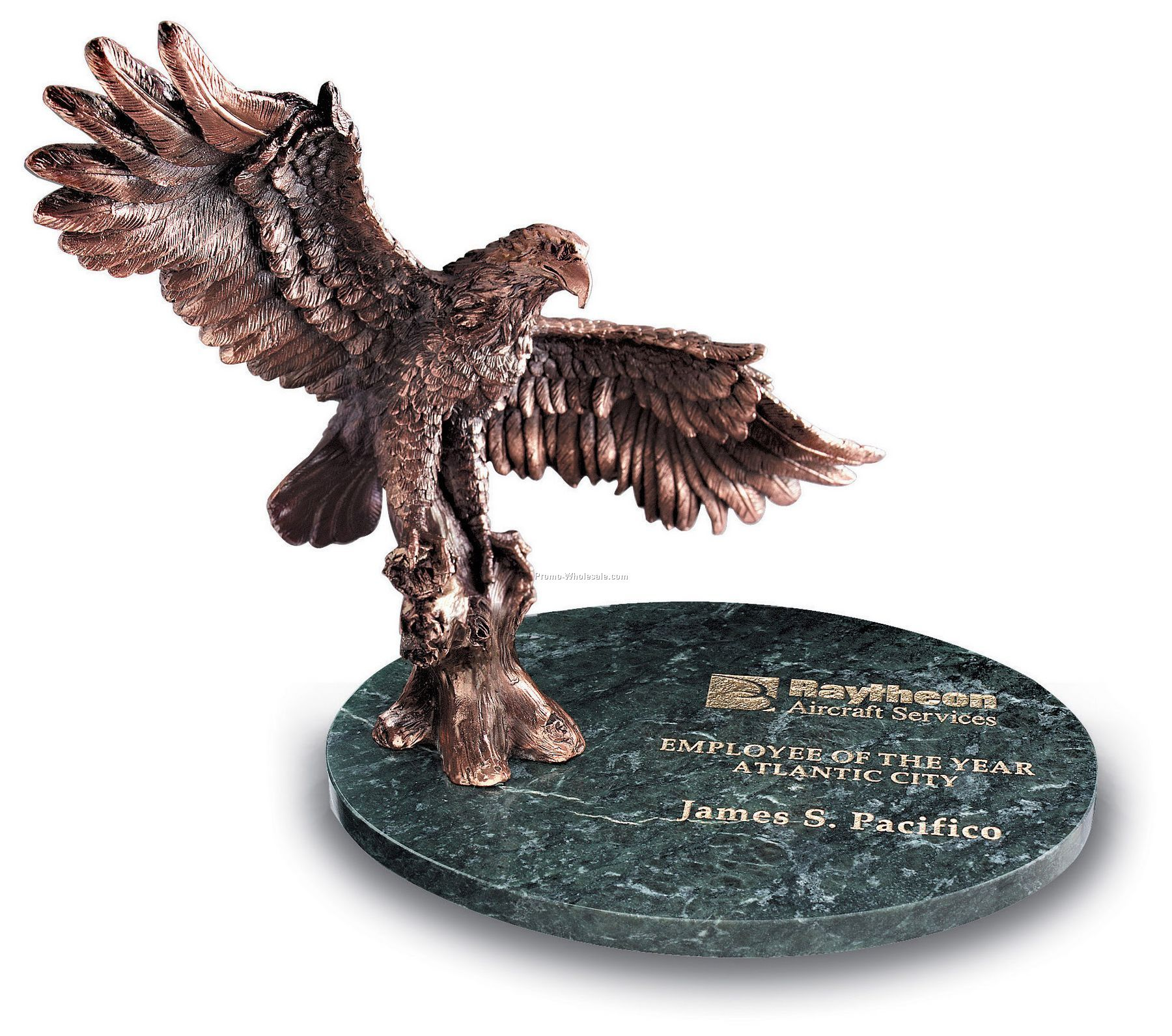 Small Victory Eagle Award W/ Green Marble Oval Base