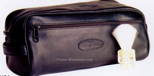 Soft Leather Travel Kit W/ Piped Edge (Full Grain)