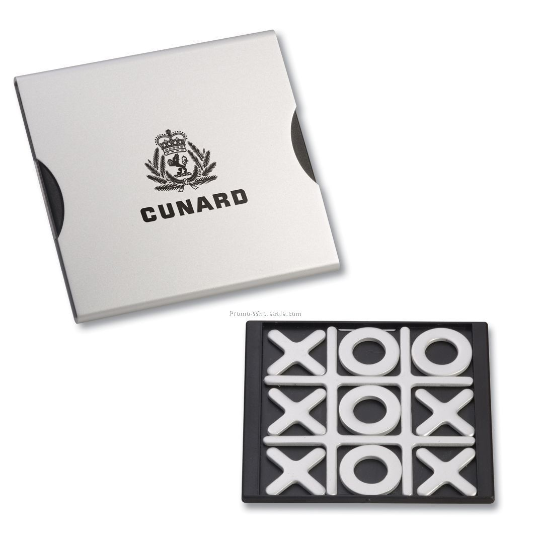 Tic-tac-toe Game Set In Brushed Aluminum Case