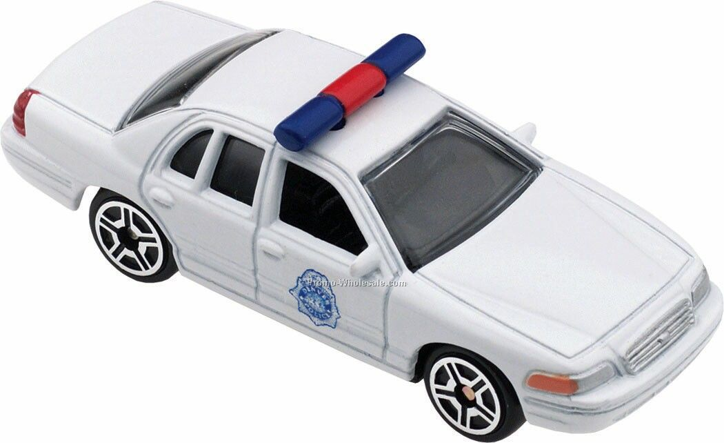 White Police Car Die Cast Mini Vehicles - 3 Day