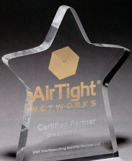 "1"" Thick Clear Acrylic Standing Star Award (Screen Printed)"