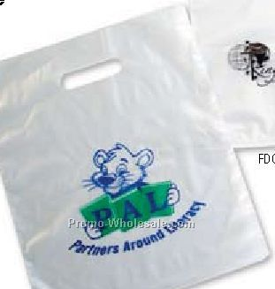 "12""x15"" 2 Mil. Frosted Clear Merchandise Bags W/ Die Cut Handle"