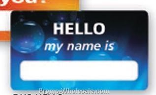 "3-1/2""x2"" Stock Full Color Window Badge - Hello My Name Is"