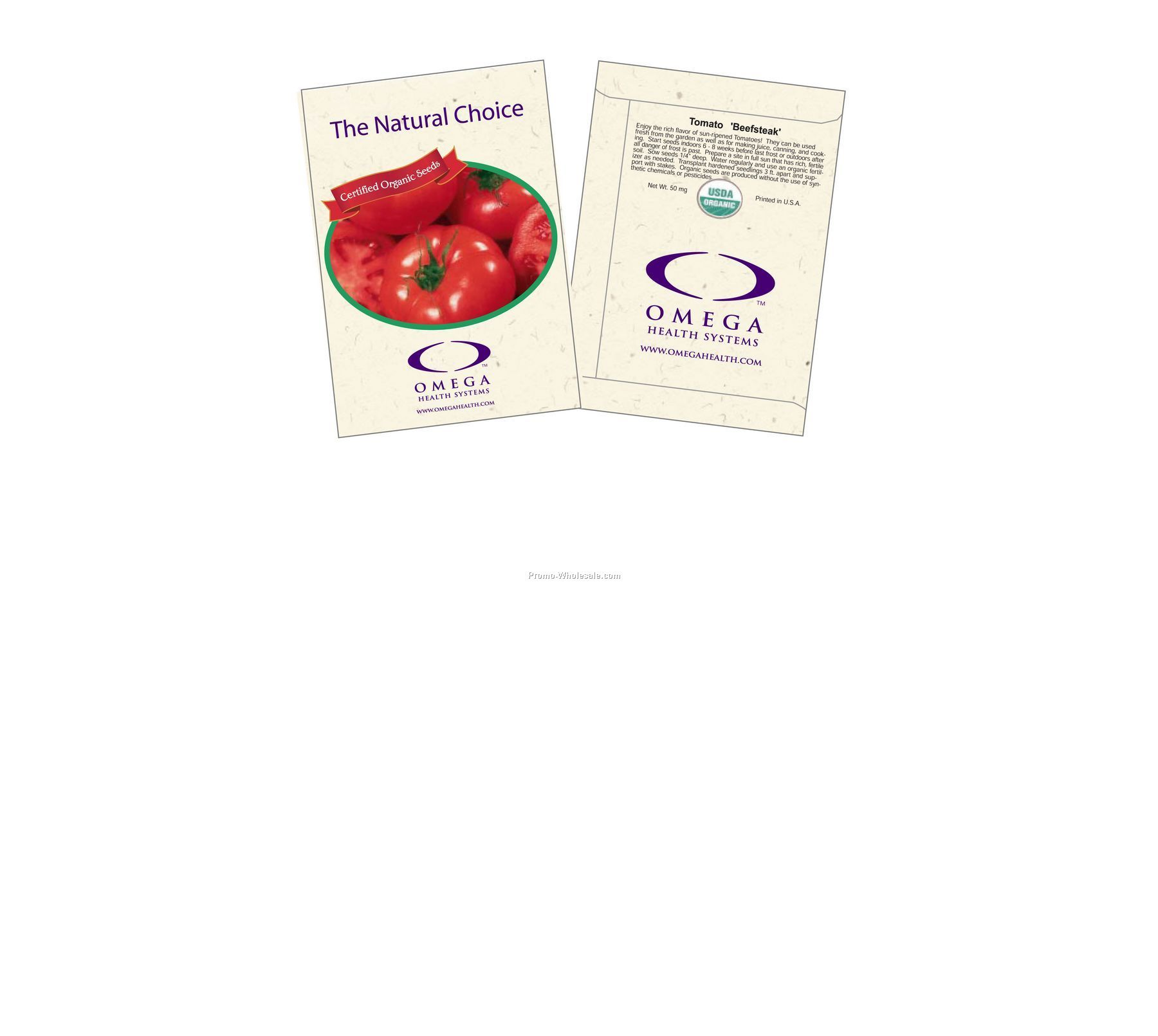 "3-1/4""x4-1/2"" Organic Tomato - Beefsteak - Seed Packets (2 Color)"