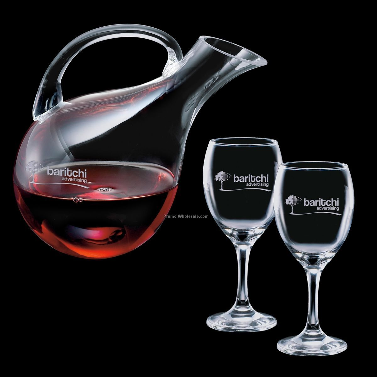 33 Oz. Ashwood Carafe And 2 Wine Glasses
