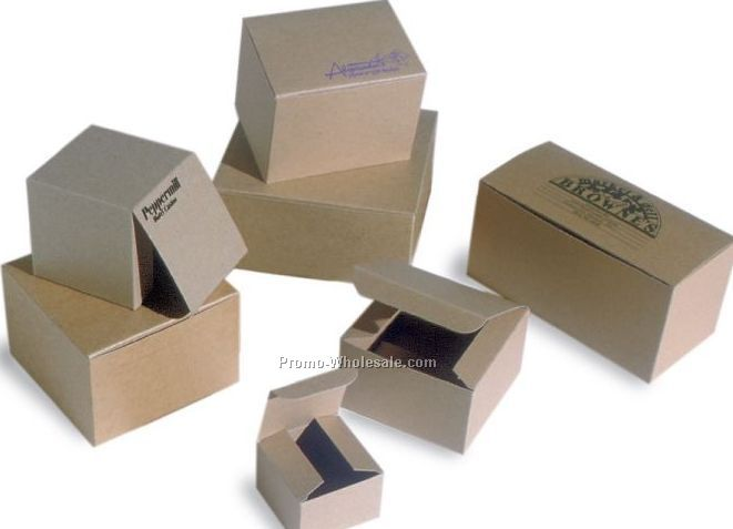 "5""x5""x3"" Natural Kraft Pinstripe Gift Boxes"
