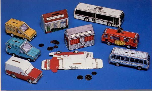 "8""x2""x2"" Stock Large Bus Fold Up Banks( 1 - 2 Color)"