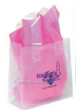 "8""x3-1/2""x10"" Frosted Clear Plastic Shopping Bags W/ 10"" Gusset"