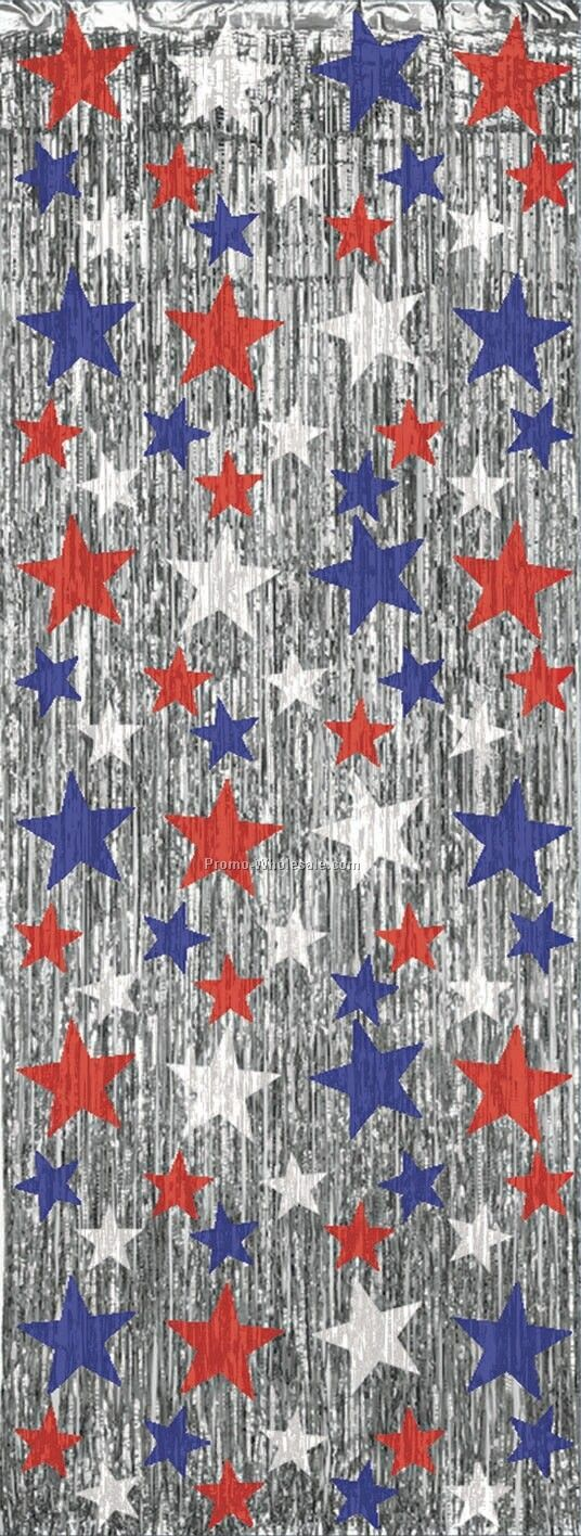 8'x3' Patriotic Star Flame Resistant Gleam 'n Curtain