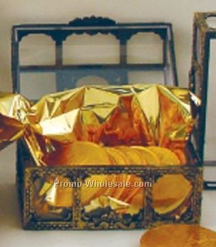 Antique Treasure Chest Filled W/ 8 Chocolate Replica Coins