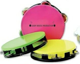 Assorted Neon Top Tambourines W/ Black Bases