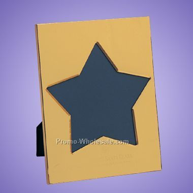 "Brass Star Picture Frame - Photo Size 7"" X 9"" - Laser Engraved"