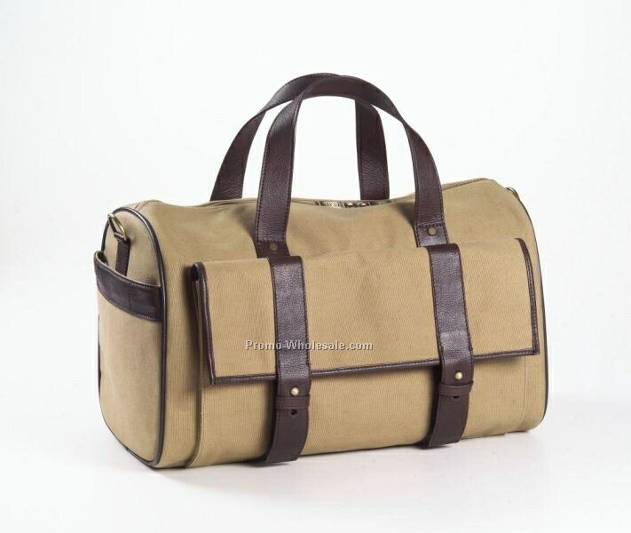 Canvas And Leather Pocket Duffel Bag