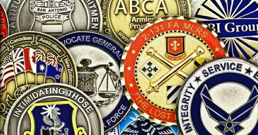"Challenge Coins- 1-3/4"" Antique Gold W/ Soft Enamel Fill - Priority"
