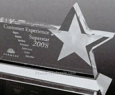 Clear Horizontal Acrylic Star Award (Screen Printed)