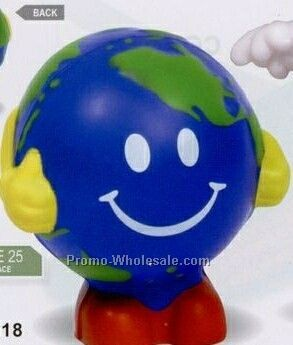 Earthball Man With Yellow Arms - Happy Grin Face