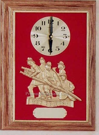 "Firematic Clock - 12""x16"" Oak Framed ""the Bravest"" Casting"