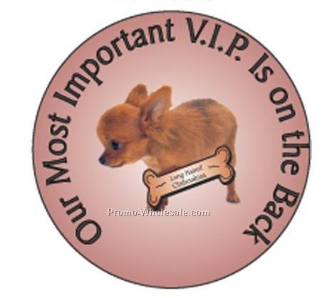 "Long Haired Chihuahua Round Hand Mirror W/ Full Mirror Back (2-1/2"")"