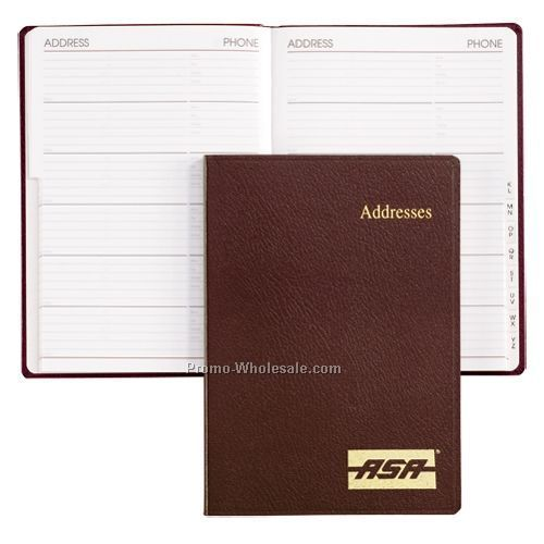 Navy Blue Bonded Leather Portable Desk Address Book (White Paper)