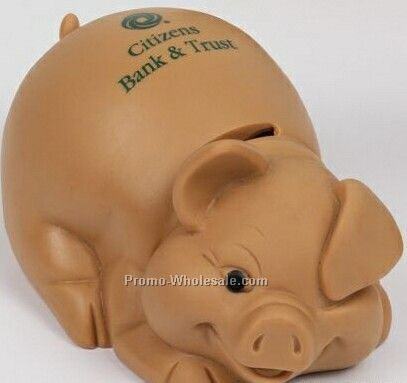 Pottery Look Terra Cotta Lying Pig Bank