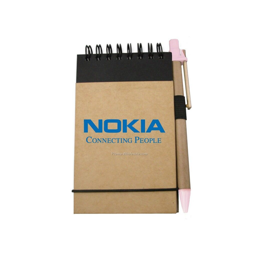 Recycled Reporter Style Notebook W/ Pen (Pink)
