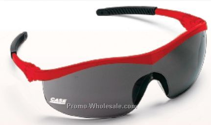 Storm Red Frame Safety Glasses W/ Clear Lens