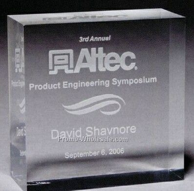 "Thick Clear Acrylic The Squared Award 1 1/4"" (Laser Engraved)"