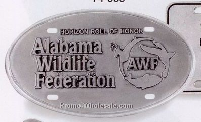 "11-1/2"" Custom Crested Oval Pewter License Tag"