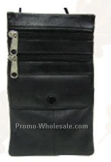 12-7/10cmx20-3/10cm Black Napa Lambskin Super Pouch With Double Zipper