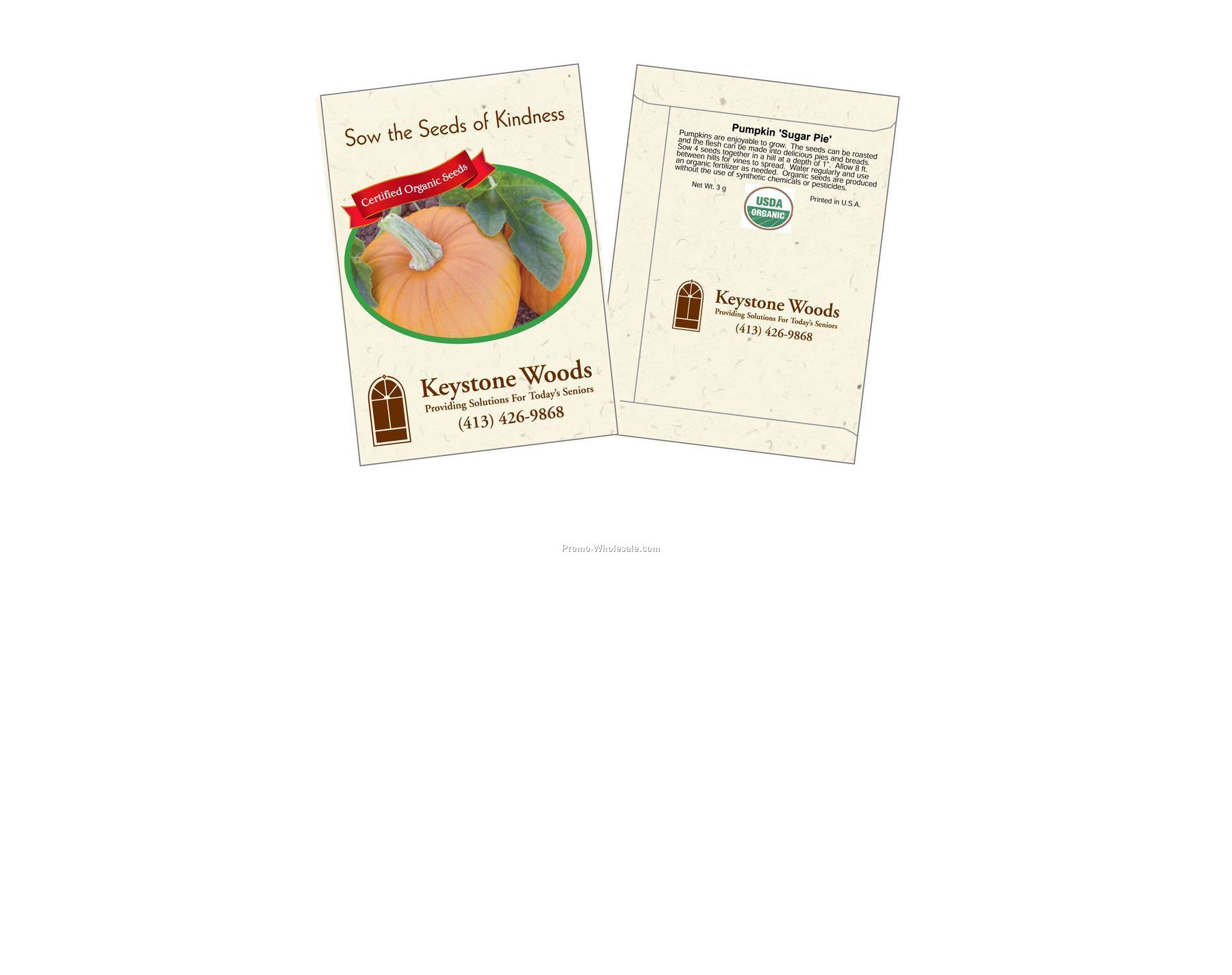 "3-1/4""x4-1/2"" Organic Pumpkin - Sugar Pie - Seed Packets (2 Color)"