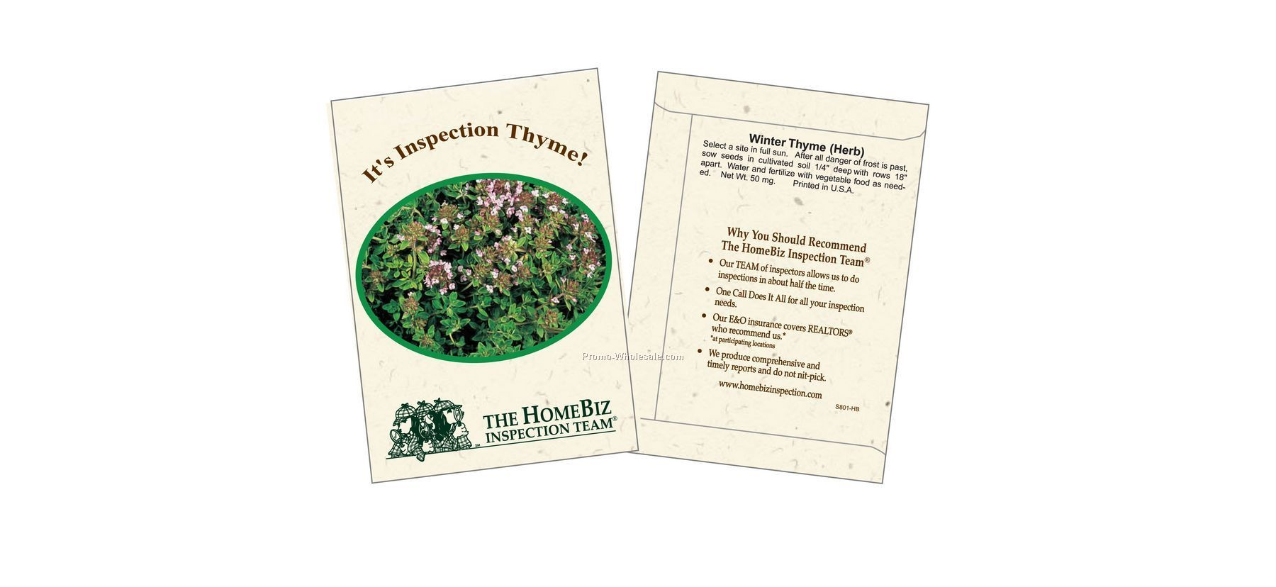 "3-1/4""x4-1/2"" Winter Thyme Herb Seed Packet (2 Color)"