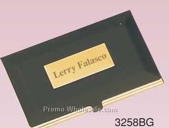 "3-3/4""x2"" Gold & Black Solid Brass Business Card Case W/ Plate (Screened)"