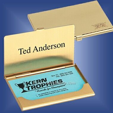 "3-5/8""x2-1/4""x3/16"" Brass Business Card Case (Screened)"