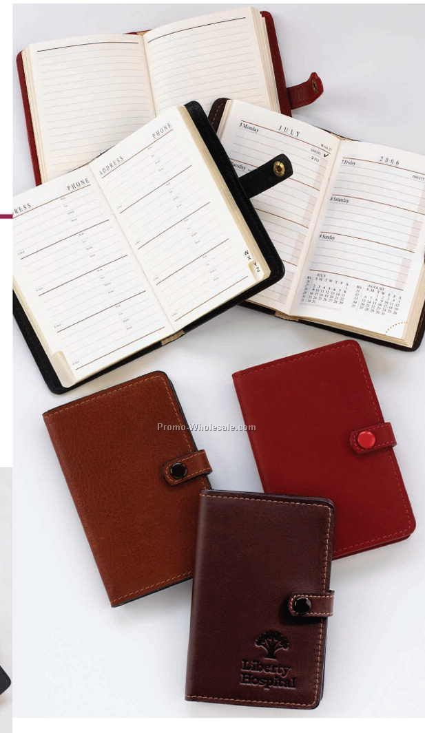 "3""x4-1/2""x1/2"" Business Leather Purse Size Address Book"