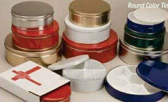 "9-7/8""x1-15/16"" Round Tins - Gold/Silver/Red/White"