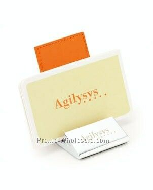 Colorplay Leather Business Card Holder W/ Chrome Base
