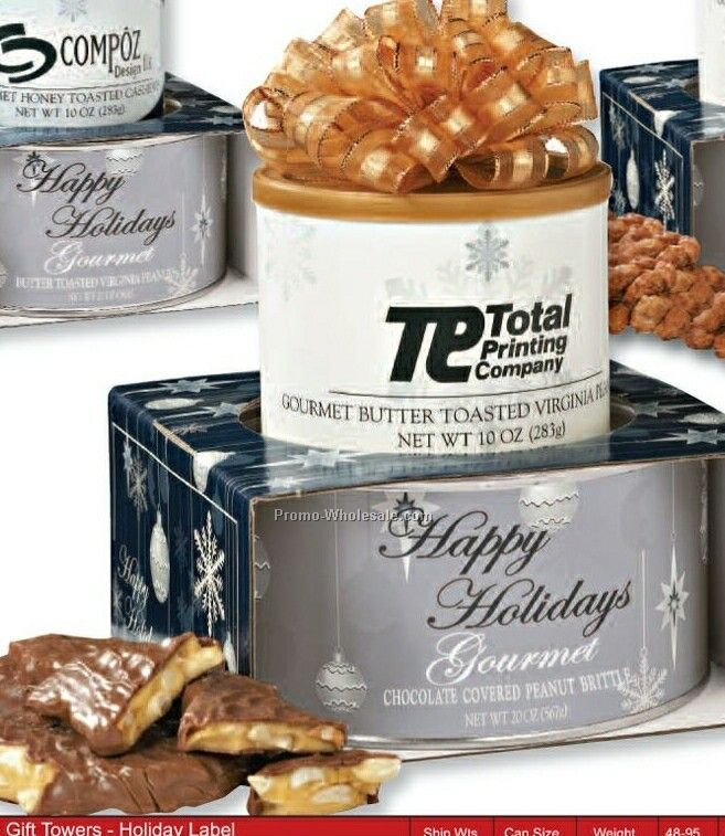 Corporate Gift Tower Buttery Brittle & Butter Toasted Nut W/ Holiday Sleeve