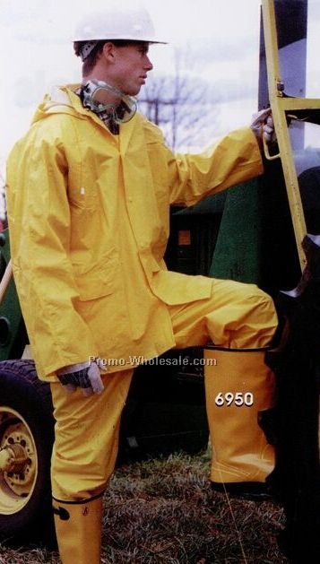 "Full Length 49"" Long Yellow Raincoat With Detachable Hood (S-2xl) Blank"