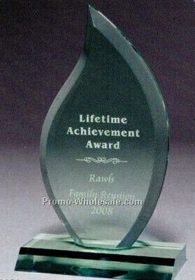Multi Faceted Jade Green Acrylic Flame Award (Screen Printed)