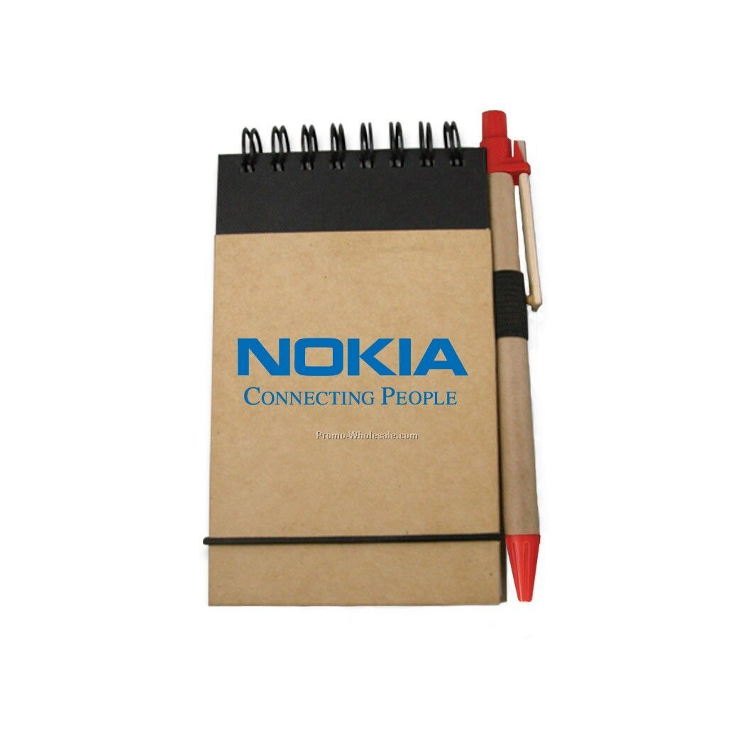 Recycled Reporter Style Notebook W/ Pen (Red)