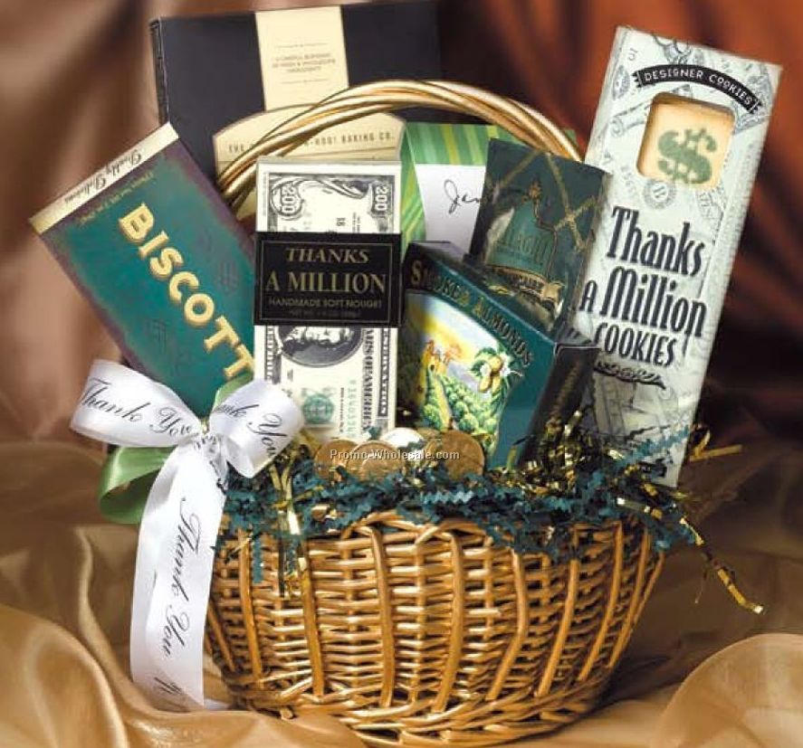 "Small ""thanks A Million"" Money Gift Basket"