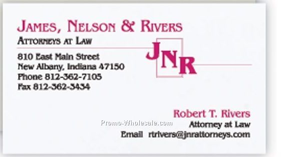 Strathmore Natural White Wove Business Card W/ Standard & Black Ink