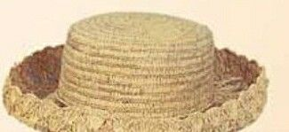 Straw Hat W/ Double Row Shell Edge (One Size Fit Most)