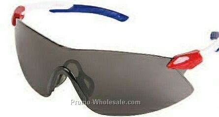 Strikers Protective Eyewear (Red, White, Blue Temple/ Clear Lens)