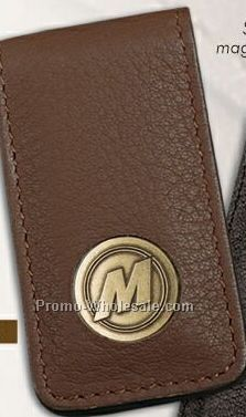 "Tan Cameo Money Clip W/ Die Struck 3/4"" Brass Insert"