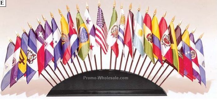 Wooden Base For Organization Of American States Flag Set