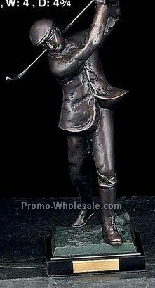 "12"" Medium Man Golfer Bronze Sculpture/Trophy On Marble Base"