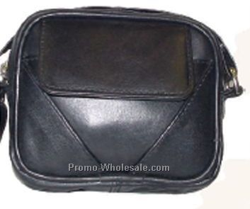 13cmx11cmx3cm Black Lambskin Mini Bag With Front Pouch & Belt Loop