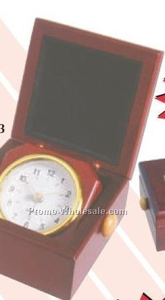 "3-1/2""x3-1/2""x2-1/2"" Square Rosewood Finish Clock In Desk Box"