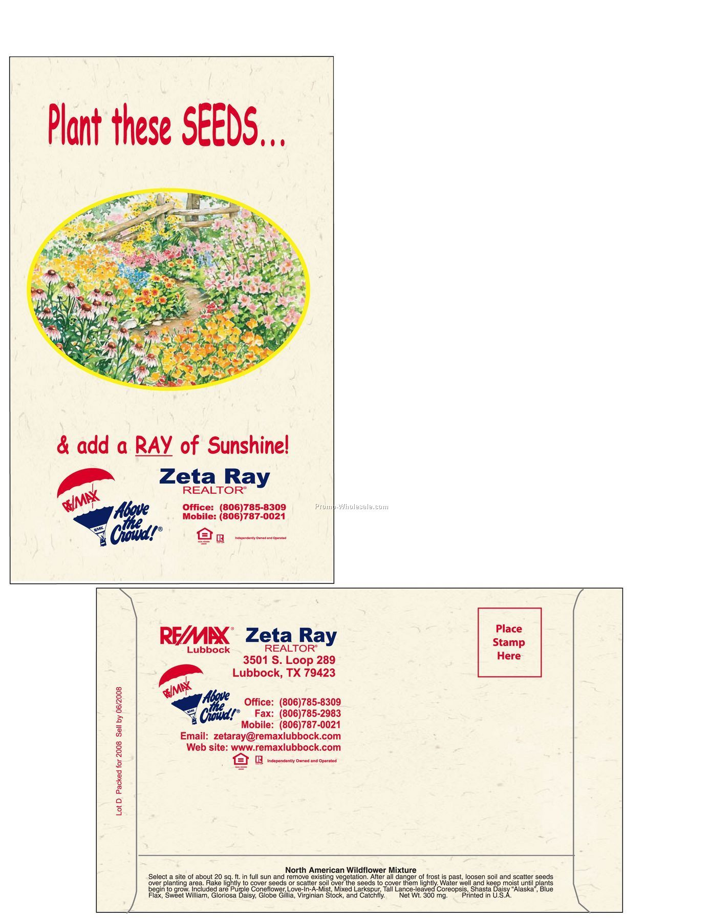 "4""x6-1/2"" Wildflower 11 Variety Mixed Postcard Size Seed Packet (1 Color)"